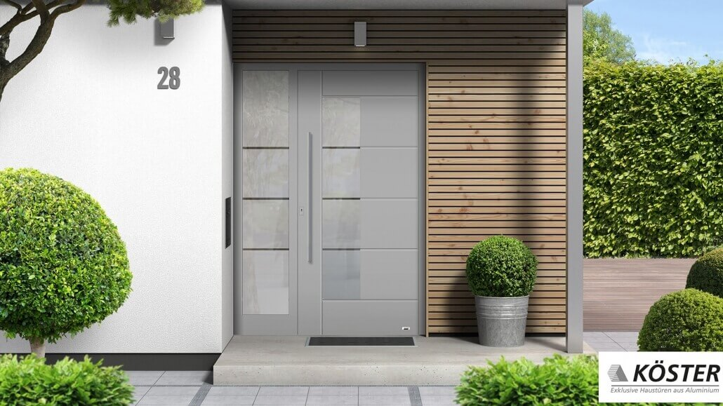 graue Haustür Trend von Köster, schmales Seitenfenster | Schreinerei Heer