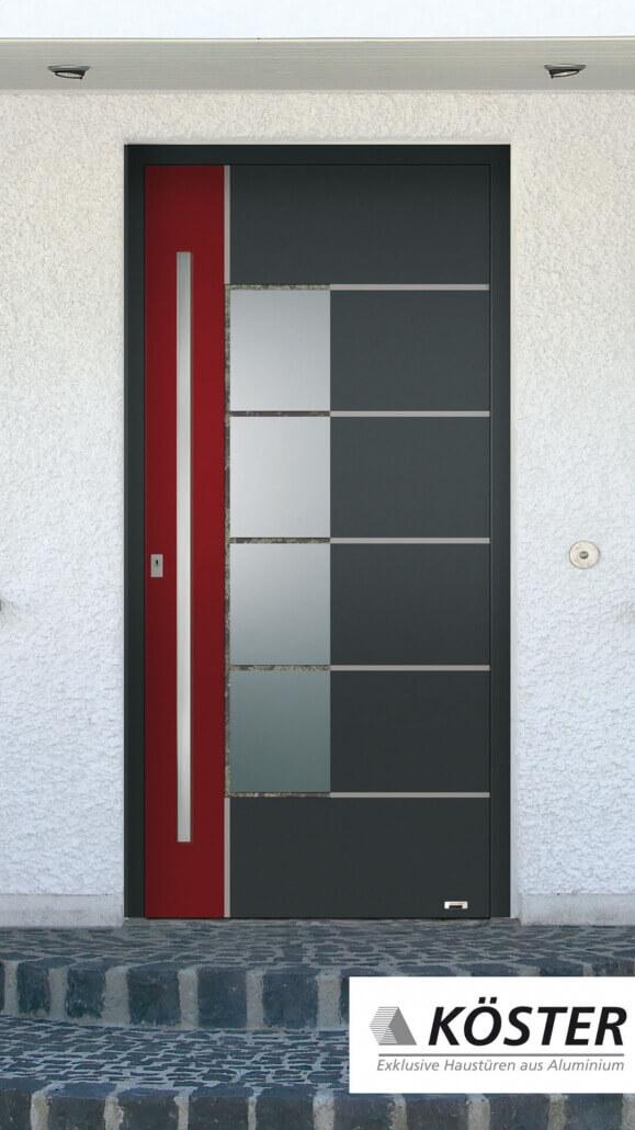 grau-rote Haustür Vario von Köster | Schreinerei Heer