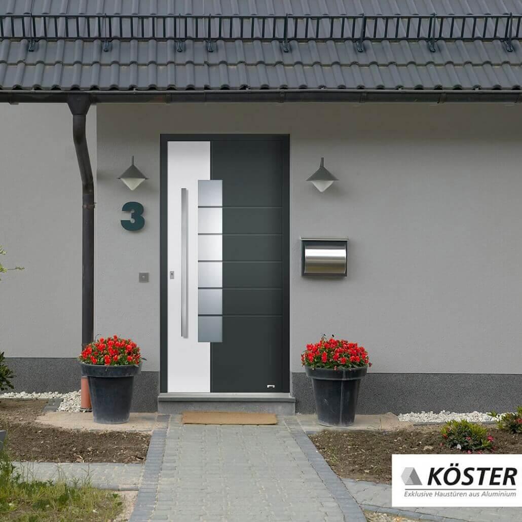 weiß-graue Haustür Vario von Köster | Schreinerei Heer